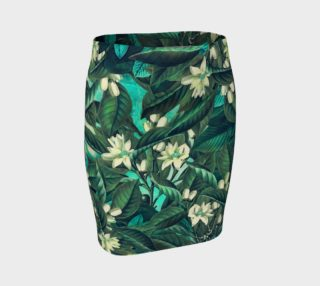 fitted skirt flowers green white preview
