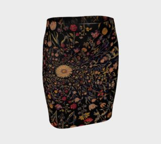 Aperçu de Medieval Flowers on Black Fitted Skirt