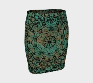 Vintage Floral Copper Patina Fitted Skirt preview