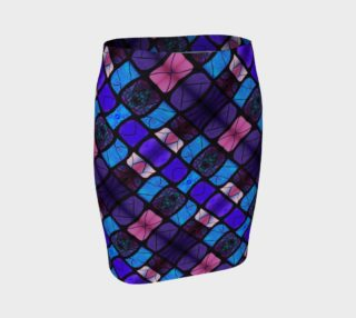 Waterlily Stained Glass --Purple Fitted Skirt II preview