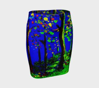 Aperçu de Magic Trees at Midnight Fitted Skirt