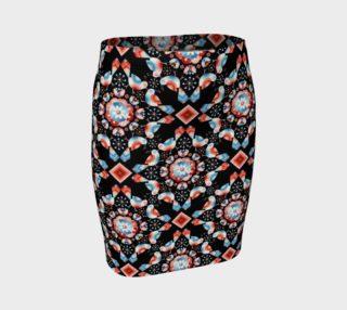 Aperçu de Folkloric Lovebirds Fitted Skirt