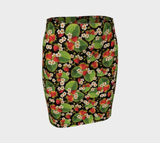Aperçu de Strawberries on Black Ankle Pencil Skirt