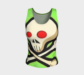 Cartoon Skull On Green Fitted Tank Top preview