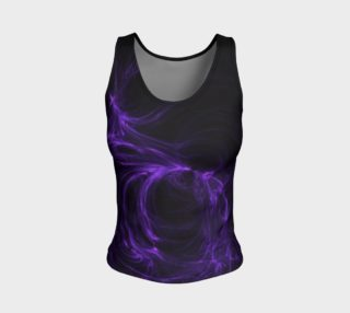 Purple Fractal on Black Fitted Tank Top preview