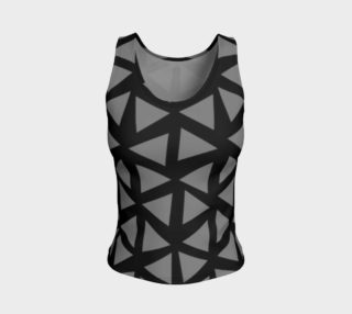 Aperçu de Painterly Cindy and More Grey Triangles on Black Fitted Tank