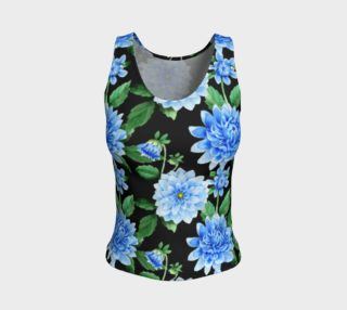 Black & Blue Floral Fitted Tank Top, Regular, & Long preview
