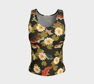 Koi & Lily Pads in Dark Water - Fitted Tank Top preview