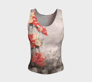 Vintage Red Grey Rose Grunge Floral Fitted Tank Top preview