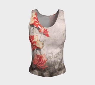 Aperçu de Vintage Red Grey Rose Grunge Floral Fitted Tank Top