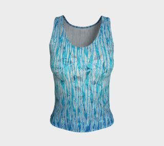 Blue Turquoise Silver Leafy Floral Fitted Tank Top preview