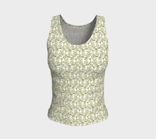 Aperçu de Green Cream Leafy Lace Floral Fitted Tank Top