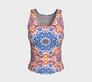 Blue and Orange Kaleidoscope Fitted Tank Top preview