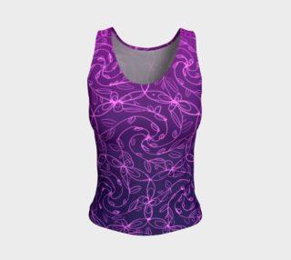 Aperçu de Spiral Vines, Pink and Purple, Celtic Spiral Floral Tank Top