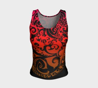 Aperçu de Autumnal Ombre, Fire Spiral, Fire Ombre, Celtic Spirals, Red Gold Ombre Stretchy Tank Top