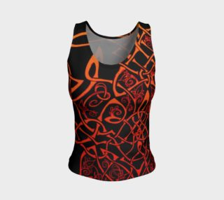 Wild Celtic Branches, Asymmetrical, Fire Ombre, Celtic Knot, Fitted Tank Top preview