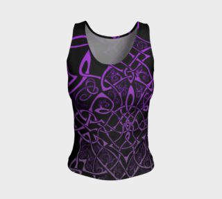 Wild Celtic Branches, Asymmetrical, Purple Ombre, Celtic Knot, Fitted Tank Top preview