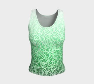 Ombre green and white swirls doodles Fitted Tank Top preview