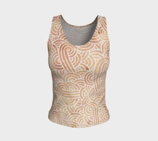 Iced coffee and white swirls doodles Fitted Tank Top preview