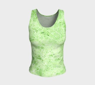 Greenery and white swirls doodles Fitted Tank Top preview