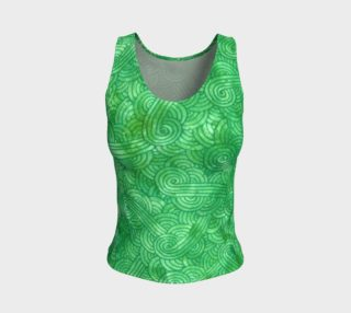 Green swirls doodles Fitted Tank Top aperçu