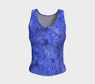 Royal blue swirls doodles Fitted Tank Top preview
