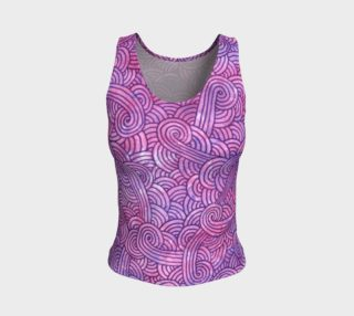 Neon purple and pink swirls doodles Fitted Tank Top preview