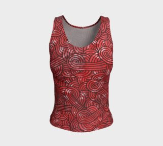 Red and black swirls doodles Fitted Tank Top preview