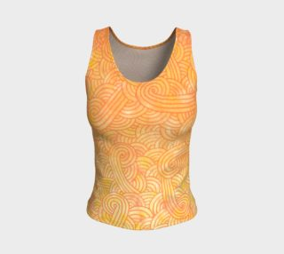 Yellow and orange swirls doodles Fitted Tank Top aperçu