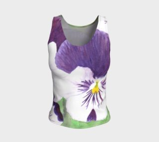 Purple and white pansies flowers Fitted Tank Top preview