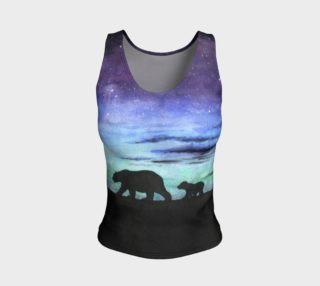 Aurora borealis and polar bears (black version) Fitted Tank Top aperçu