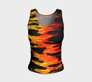 Aperçu de Lava in Black and Orange Fitted Tank Top