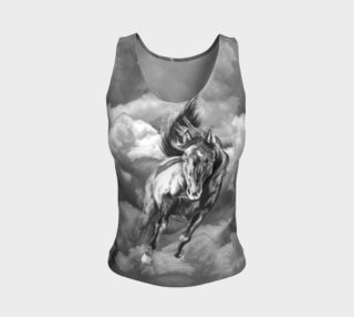 Storm Warning Black and White Horse Art Fitted Tank Top preview