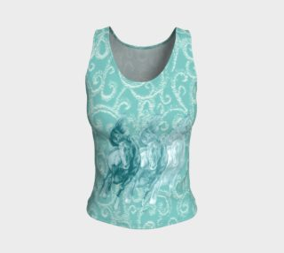 Turquoise Galloping Horses Equestrian Fitted Tank Top preview