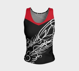 Scroll Black Red Fitted Tank preview