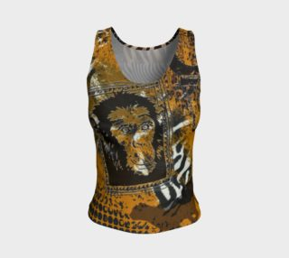 Safari patchwork  Fitted Tank Top preview