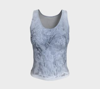 Snow Covered Trees Frosty Blue and White Fitted Tank Top preview