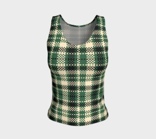 Digital Green and Cream Plaid Fitted Tank Top preview