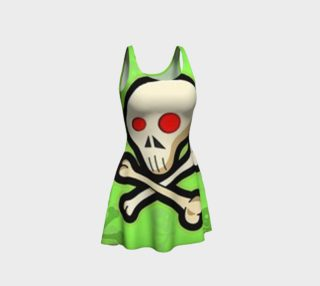 Cartoon Skull On Green Flare Dress preview