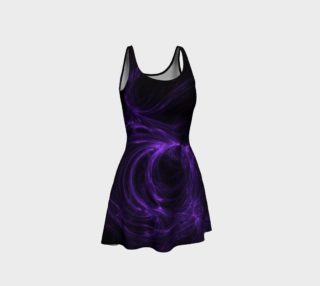 Purple Fractal on Black Flare Dress preview