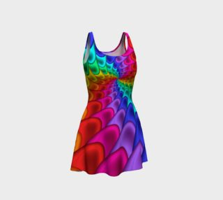Psychedelic Rainbow Spiral  Flare Dress preview