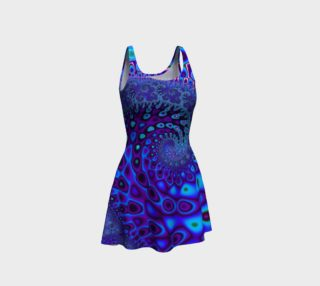 Blue wave fractal flare dress preview