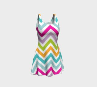 Aperçu de Vibrant Colors Chevron Pattern Flare Dress
