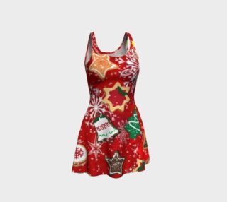 Retro Christmas Cookies Holiday Flare Dress preview