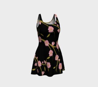 Cherry Blossoms on Black Print Flare Dress preview