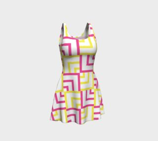 Pink and Yellow Squares Flare Dress preview