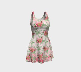 Aperçu de Bold Red Green Wild Rose Floral Flare Dress
