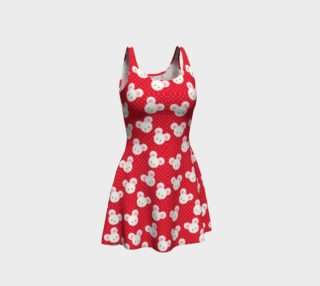 Red Polka Dot Mice Flare Dress preview