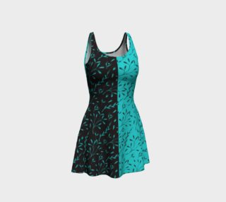 Turquoise Black Leafy Floral Vine Flare Dress preview
