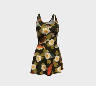 Koi & Lily Pads in Dark Water Flare Dress preview